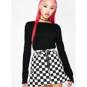🆕 'Changing Lanes' checkered denim skirt